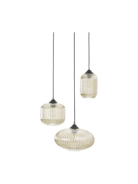 Cluster hanglamp Dali van glas, Lampenkap: glas, Baldakijn: gecoat metaal, Beige, zwart, Ø 58 x H 200 cm