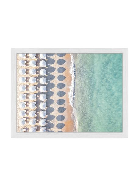 Ingelijste digitale print Aerial View With Umbrellas, Afbeelding: digitale print op papier,, Lijst: gelakt hout, Multicolour, 43 x 33 cm