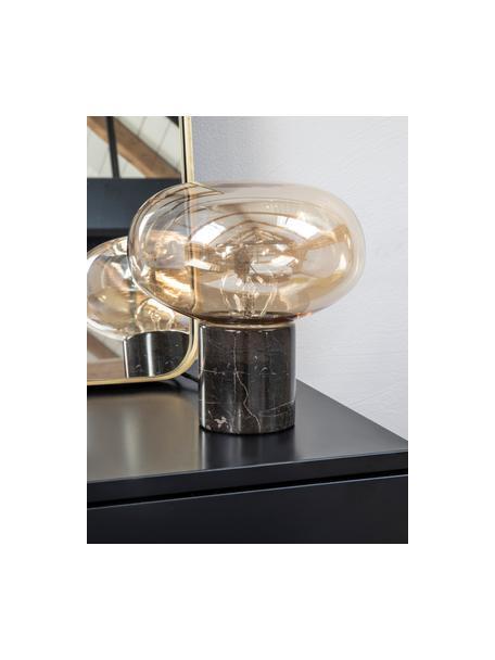 Kleine nachtlampje Alma met marmeren voet, Lampvoet: marmer, Lampenkap: glas, Lampvoet: bruin marmer. Lampenkap: amberkleurig, transparant, Ø 23 x H 24 cm
