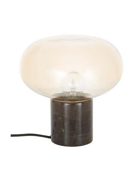 Lámpara de mesa pequeña de mármol Alma, Pantalla: vidrio, Cable: cubierto en tela, Mármol marrón, ámbar, Ø 23 x Al 24 cm