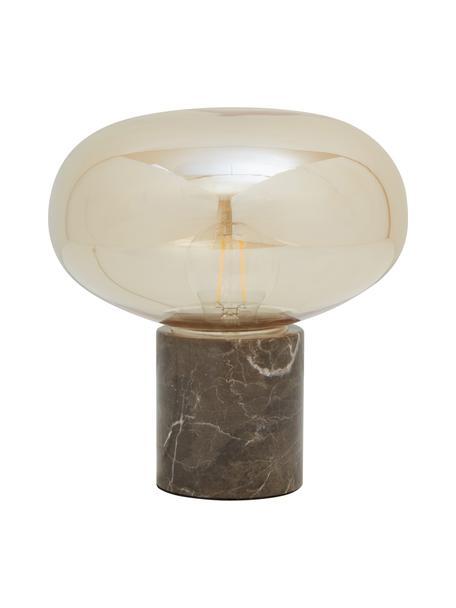 Lampada da comodino con base in marmo Alma, Base della lampada: marmo, Paralume: vetro, Base della lampada: marmo marrone Paralume: ambra trasparente, Ø 23 x Alt. 24 cm