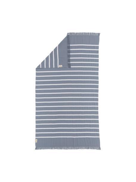 Gestreiftes Hamamtuch Filena, 100% Baumwolle, Blau, Weiss, 100 x 180 cm
