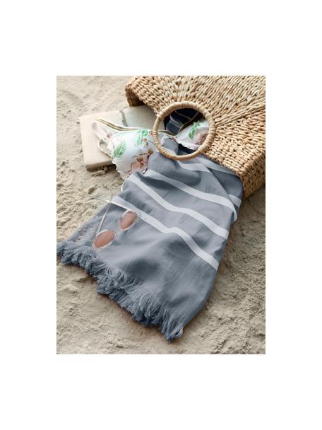 Ręcznik plażowy Filena, 100% bawełna, Niebieski, biały, S 100 x D 180 cm