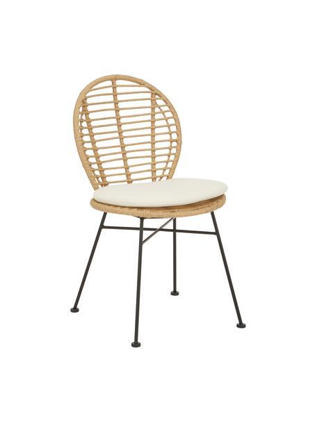 Polyrotan stoelen Cordula, 2 stuks, Zitvlak: polyethyleen vlechtwerk, Frame: gepoedercoat metaal, Bruin, 48 x 57 cm