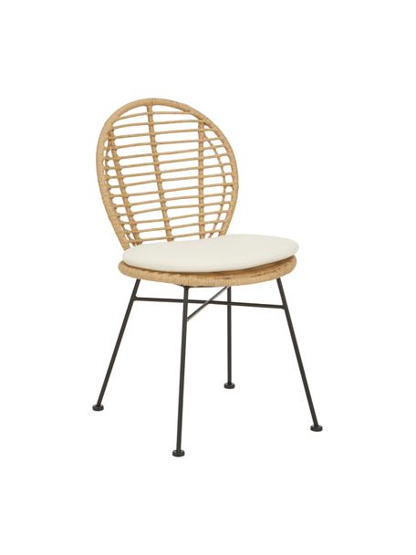 Sedia in polirattan Cordula 2 pz, Seduta: intreccio polietilene, Struttura: metallo verniciato a polv, Marrone, Larg. 48 x Prof. 57 cm
