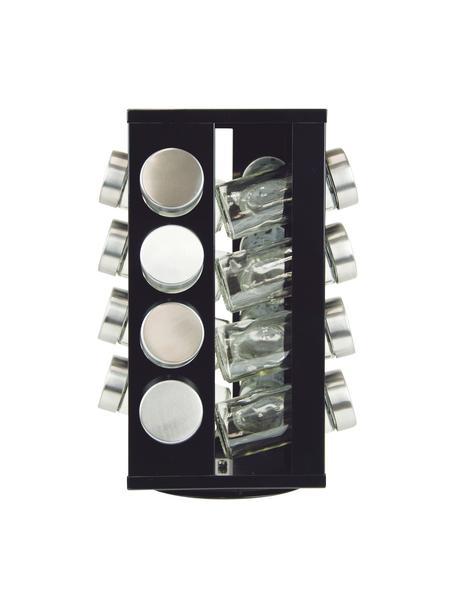 Draaibaar kruidenrek Soho met opbergboxen, 17-delig, Frame: gecoat metaal, kunststof, Zwart, edelstaalkleurig, 18 x 29 cm