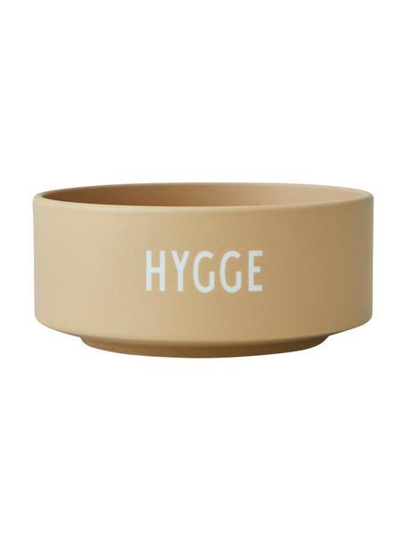 Design kom HYGGE in beige met opschrift, Beenderporselein (porselein) Fine Bone China is een zacht porselein, dat zich vooral onderscheidt door zijn briljante, doorschijnende glans., Mat beige, wit, Ø 12 x H 5 cm