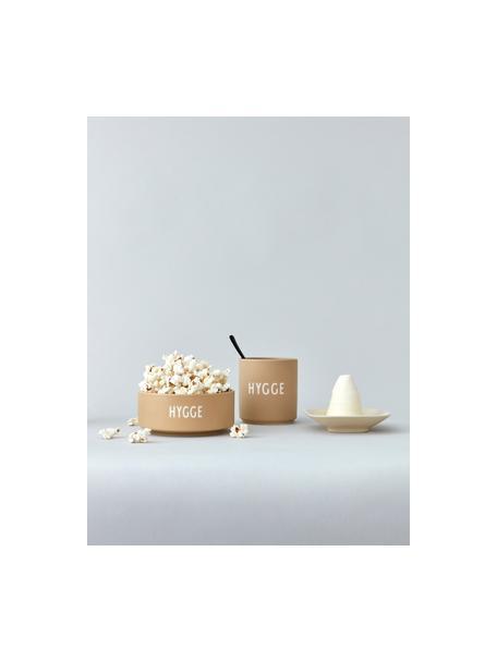 Cuenco de diseño HYGGE, Porcelana fina de hueso (porcelana) Fine Bone China es una pasta de porcelana fosfática que se caracteriza por su brillo radiante y translúcido., Beige mate, blanco, Ø 12 x Al 5 cm