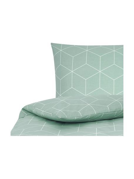 Pościel z bawełny Lynn, Miętowy, kremowobiały, 135 x 200 cm + 1 poduszka 80 x 80 cm