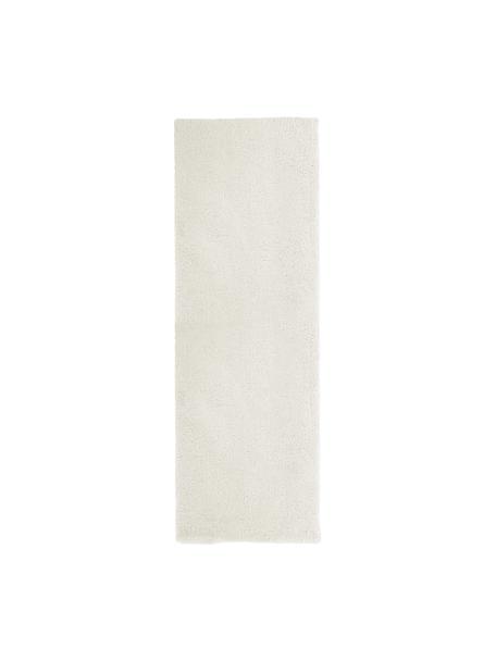 Pluizige hoogpolige loper Leighton in crèmekleur, Bovenzijde: microvezels (100% polyest, Onderzijde: 70% polyester, 30% katoen, Crèmekleurig, 80 x 250 cm