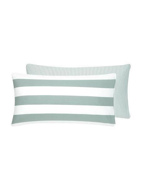 Dwustronna poszewka na poduszki z bawełny Lorena, 2szt., Szałwiowy zielony, biały, S 40 x D 80 cm
