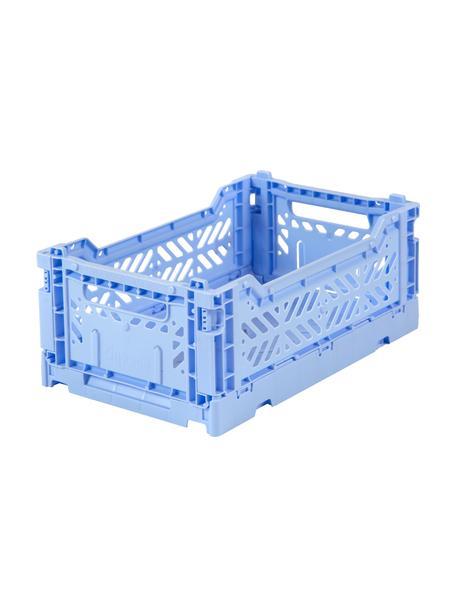Caja plegable apilable Baby Blue, pequeña, Plástico reciclado, Azul, An 27 x Al 11 cm