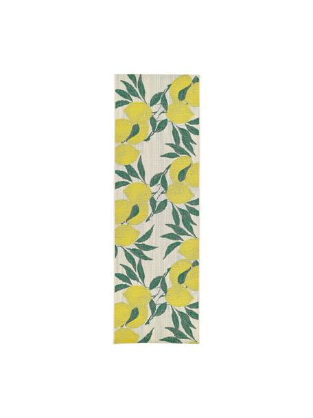 In- & outdoor loper Limonia met citroenenprint, 86% polypropyleen, 14% polyester, Crèmewit, geel, groen, 80 x 250 cm