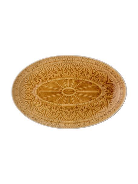 Ręcznie wykonany półmisek Rani, Kamionka, Żółty, D 39 x S 25 cm