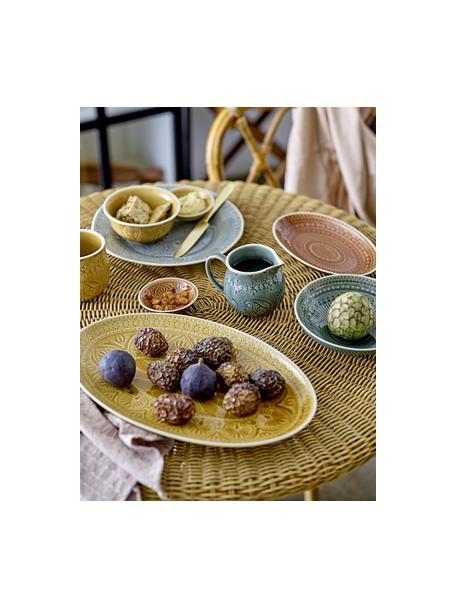 Handgemaakte serveerplateau Rani in Marokkaanse stijl, L 39 x B 25 cm, Keramiek, Geel, 25 x 39 cm