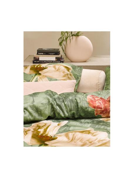 Dubbelzijdige katoensatijnen dekbedovertrek Annabel, Weeftechniek: satijn, Basilicumgroen, 140 x 200 cm + 1 kussen 70 x 60 cm