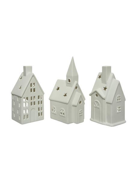 Lichthuisjes City, 3 stuks, Porselein, Wit, 7 x 16 cm