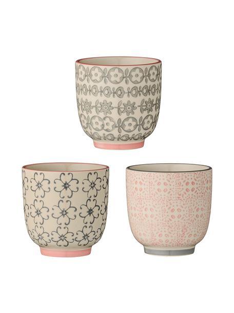 Komplet kubków do espresso Cécile, 3 elem., Ceramika, Blady różowy, szary, Ø 7 x W 7 cm