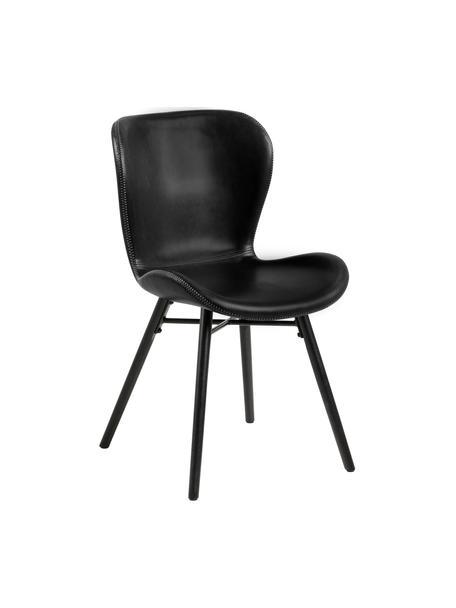 Kunstleren stoelen Batilda in zwart, 2 stuks, Bekleding: kunstleer (polyurethaan), Poten: rubberhout, gecoat, Kunstleer zwart, 47 x 53 cm
