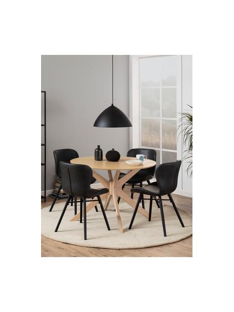 Kunstleren stoelen Batilda, 2 stuks, Bekleding: kunstleer (polyurethaan), Poten: rubberhout, gecoat, Zwart, 47 x 53 cm