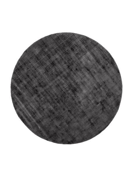Alfombra redonda artesanal de viscosa Jane, Parte superior: 100%viscosa, Reverso: 100%algodón, Negro antracita, Ø 115 cm (Tamaño S)