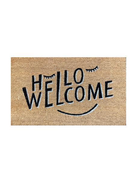 Felpudo Hello Welcome, Parte superior: fibra de coco, Reverso: vinilo, Beige, negro, An 45 x L 75 cm