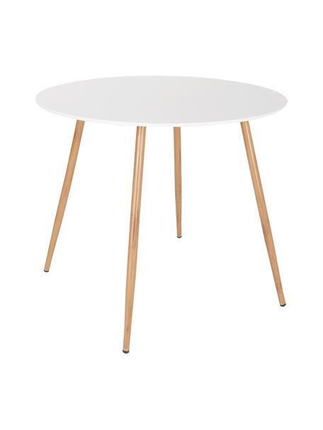 Kleiner, runder Gartentisch Linea, Ø 90 cm, Tischplatte: Metall, beschichtet, Beine: Metall, beschichtet, Weiß, Hellbraun, Ø 90 cm x H 77 cm