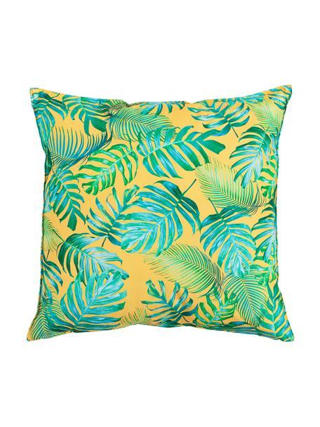 Outdoor-Kissen Madeira mit Blattmuster, mit Inlett, 100% Polyester, Gelb, Blautöne, Grüntöne, 45 x 45 cm
