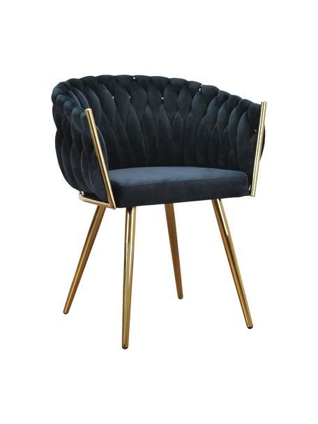 Krzesło z podłokietnikami z aksamitu Larissa, Tapicerka: aksamit (100% poliester), Nogi: metal, Aksamitny czarny, nogi: odcienie złotego, S 63 x G 55 cm
