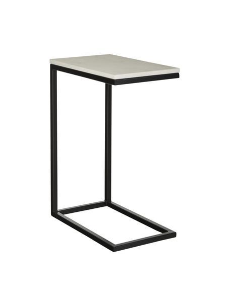 Marmeren bijzettafel Celow, Tafelblad: marmer, MDF, Frame: gepoedercoat metaal, Wit, 45 x 62 cm