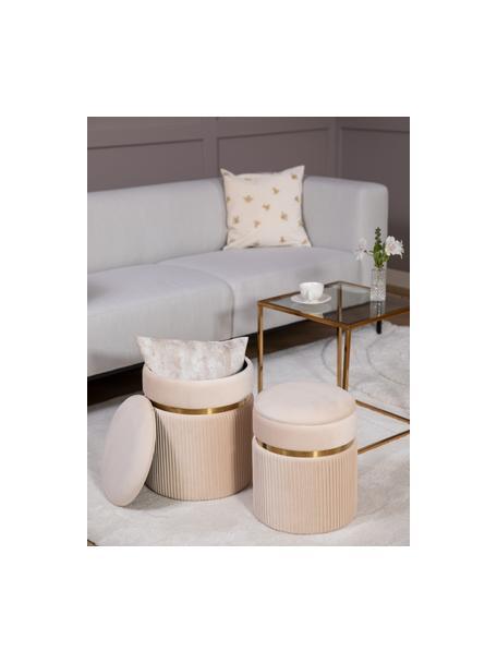 Fluwelen poefenset Chest met opbergruimte, 2-delig, Bekleding: polyester (fluweel), Crèmekleurig, Set met verschillende formaten