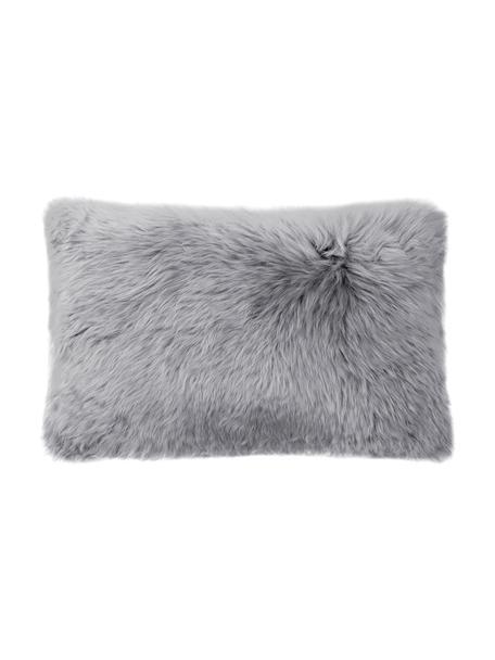 Federa arredo in pelliccia di pecora Oslo, liscia, Retro: lino, Fronte: grigio chiaro Retro: grigio chiaro, Larg. 30 x Lung. 50 cm
