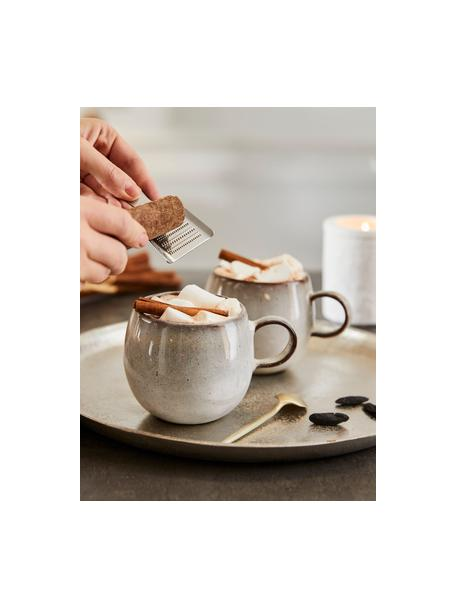Taza de café artesanal Sandrine, Gres, Tonos beige, Ø 10 x Al 10 cm