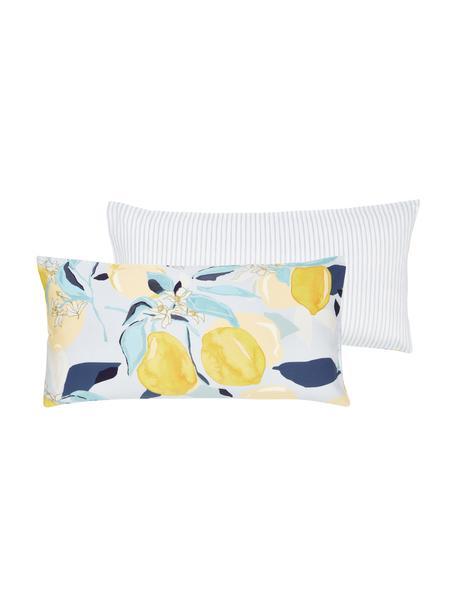 Dwustronna poszewka na poduszkę z satyny bawełnianej Garda, 2 szt., Niebieski, żółty, biały, S 40 x D 80 cm