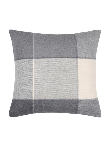 Funda de cojín Courchevel, 95%poliéster, 5%lana, Gris, crema, An 40 x L 40 cm