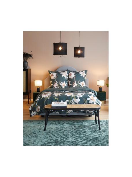 Pościel z satyny bawełnianej Flori, Przód: zielony, kremowobiały Tył: zielony, 135 x 200 cm + 1 poduszka 80 x 80 cm
