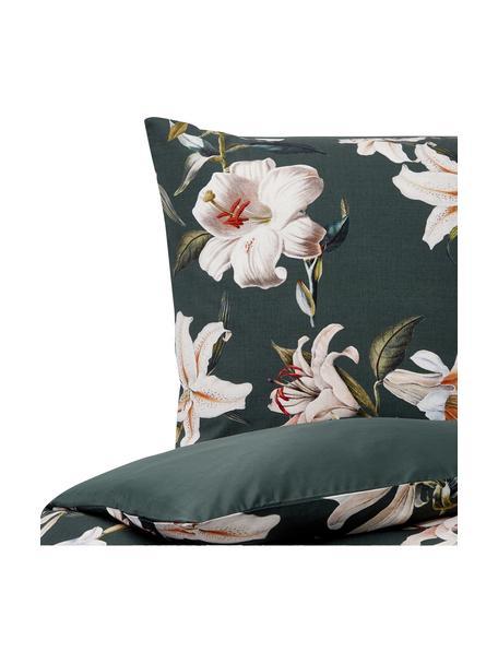 Baumwollsatin-Bettwäsche Flori in Dunkelgrün mit Blumen-Print, Webart: Satin Fadendichte 210 TC,, Vorderseite: Grün, CremeweissRückseite: Grün, 135 x 200 cm + 1 Kissen 80 x 80 cm