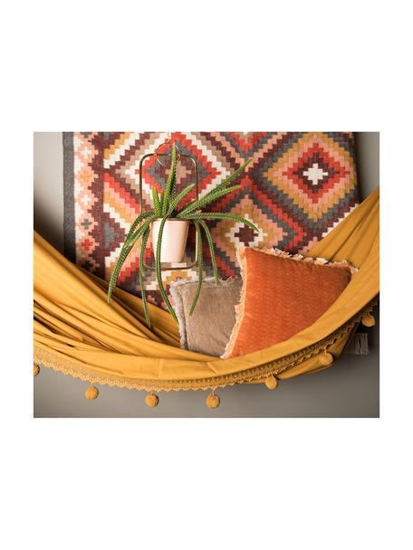 Hamaca de algodón con pompones Holly, Algodón, Mostaza, blanco crudo, An 90 x L 250 cm