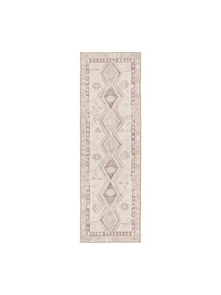 Kelimläufer Ana Aztec mit Ethnomuster in Beige, 80% Polyester 20% Baumwolle, Beige, Taupe, 75 x 230 cm