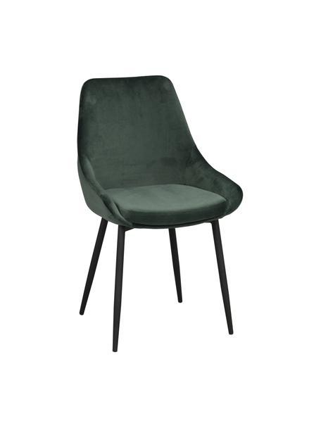 Sedia imbottita in velluto Sierra 2 pz, Rivestimento: 100% velluto di poliester, Gambe: metallo verniciato, Verde, nero, Larg. 59 x Alt. 62 cm