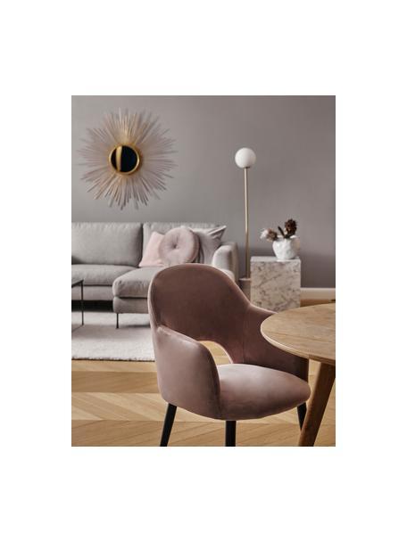 Sedia con braccioli in velluto color malva Rachel, Rivestimento: velluto (poliestere) Il r, Gambe: metallo verniciato a polv, Velluto malva, Larg. 56 x Alt. 70 cm