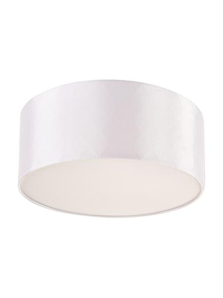 Plafoniera in tessuto Bendir, Paralume: 80% poliestere, 20% coton, Struttura: metallo, Bianco latteo, Ø 38 x Alt. 15 cm