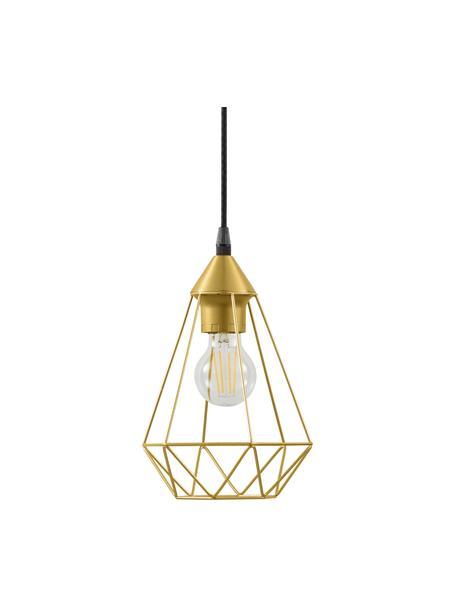 Lámpara de techo pequeña Kyle, Anclaje: metal cepillado, Pantalla: metal cepillado, Cable: cubierto en tela, Dorado, Ø 18 cm