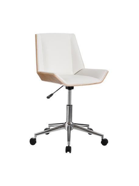 Krzesło biurowe ze sztucznej skóry Clar, obrotowe, Tapicerka: sztuczna skóra (poliureta, Stelaż: płyta wiórowa, Nogi: metal, Biały, beżowy, S 54 x G 52 cm