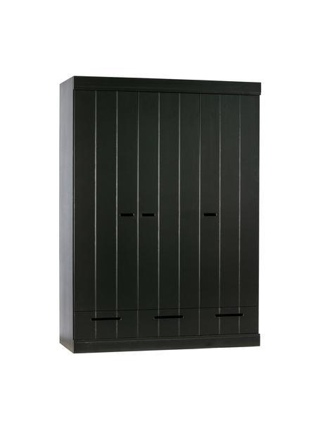 Armario con 3 puertas Connect, Estructura: madera de pino maciza pin, Estantes: melamina, Negro, An 140 x Al 195 cm