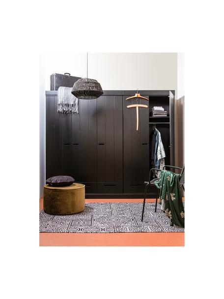 Szafa Connect, Korpus: lite drewno sosnowe, laki, Czarny, S 140 x W 195 cm