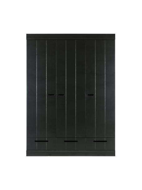 Armadio nero con 3 ante Connect, Ripiani: melamina, Nero, Larg. 140 x Alt. 195 cm