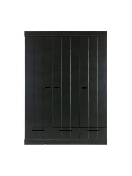 Kledingkast Connect met 3 deuren in zwart, Frame: massief grenenhout, gelak, Zwart, 140 x 195 cm