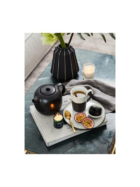 Handgemachtes Ontbijtset Esrum mat/glanzend, 4 personen (12-delig), Bovenzijde: glad geglazuurde keramiek, Onderzijde: natuurlijke keramiek, Ivoorkleurig, zwart, Set met verschillende formaten