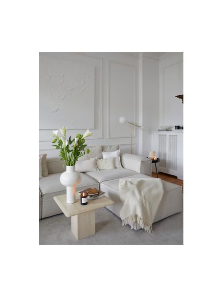 Voetenbank Lennon in beige, Bekleding: polyester De hoogwaardige, Frame: massief grenenhout, multi, Poten: kunststof, Geweven stof beige, 88 x 43 cm